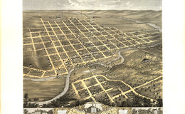 E66 - Birds Eye View of the City of Faribault Rice County Minnesota - Albert Ruger - 1869