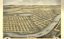 E66 - Birds Eye View of the City  of Saint Cloud Stearns County Minnesota - 1869