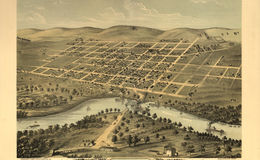 E66 - Birds Eye View of the City of Saint Peter Nicollet County Minnesota - 1870